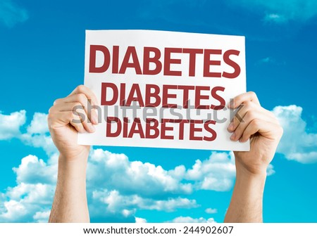 Diabetes card with sky background - stock photo
