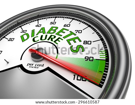 Diabetes cure conceptual meter indicate maximum, isolated on white background - stock photo