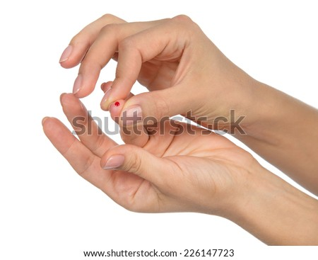 Diabetes diabetic concept finger prick for glucose sugar measuring level blood test on white background - stock photo