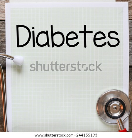 Diabetes Handwritten on paper. Diabetes Handwritten on paper note with stethoscope on wooden table - stock photo