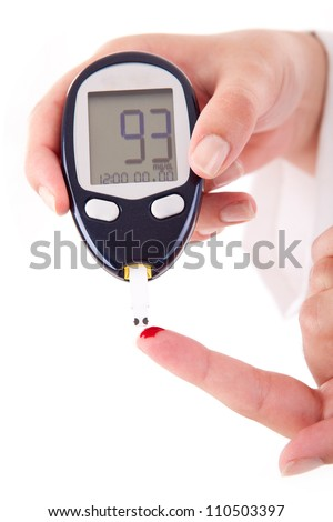 Diabetes patient measuring glucose level blood - stock photo