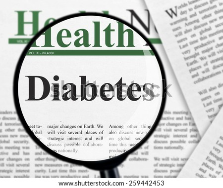 Diabetes under magnifying glass - stock photo