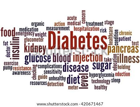 Diabetes, word cloud concept on white background. - stock photo