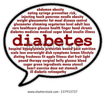 Diabetes word cloud in speech bubble - stock photo