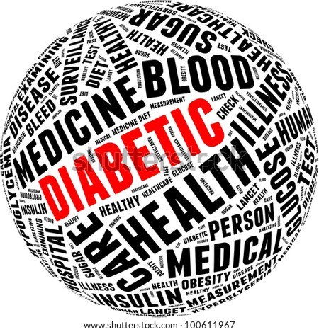 Diabetic health care info-text graphics and arrangement with circle shape concept - stock photo