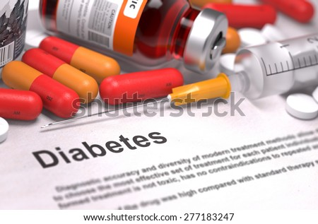 Diagnosis - Diabetes. Medical Concept with Red Pills, Injections and Syringe. Selective Focus. 3D Render. - stock photo