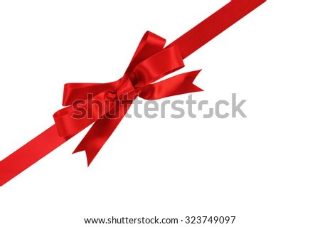 Diagonal red gift bow ribbon isolated on white background  - stock photo