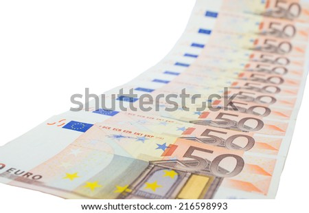Diagonal row of euro notes isolated on white background - stock photo