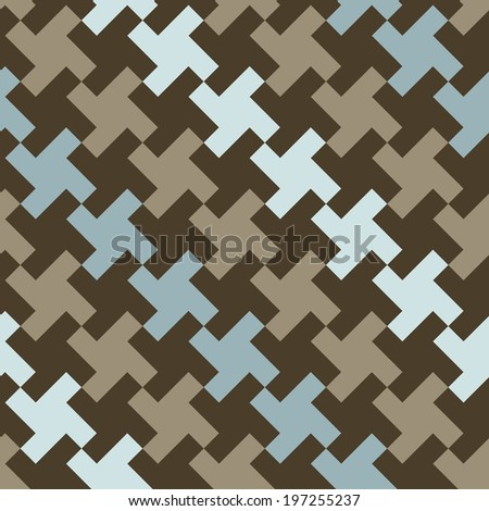 Diagonal square houndstooth pattern in classic blues and browns. - stock photo