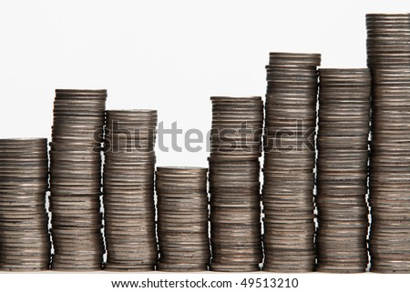 Diagram  coins isolated on white - stock photo