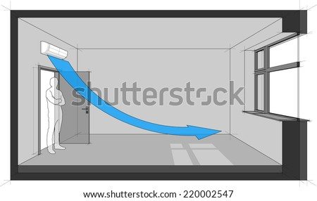 Diagram of a room cooled with wall mounted air conditioner - stock photo