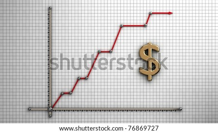 Diagram of business gold  dollar - stock photo