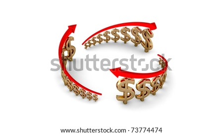 Diagram of business success, gold dollars circle isolated with clipping path - stock photo