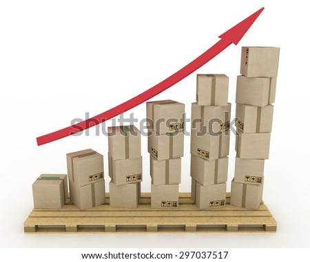 Diagram of increasing exportation. 3d rendered illustration. - stock photo