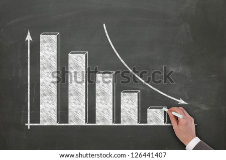 diagram sketched on blackboard by a business man hand - stock photo