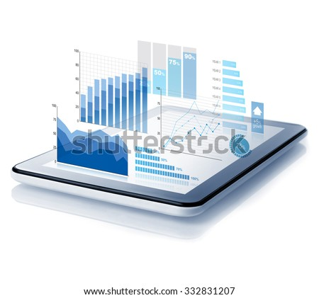 Diagrams projecting from tablet - stock photo