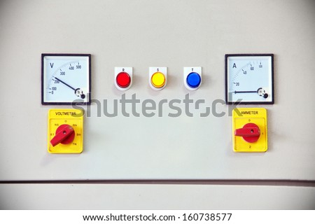 Dial control The production of electricity AC power 220 Voltage three line signal lamp . - stock photo