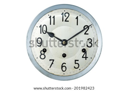 dial of old antique wall clock isolated on white - stock photo