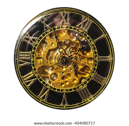 dial vintage pocket watch isolated on white background - stock photo