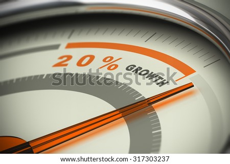 Dial with the needle surpassing the target of twenty percent growth. Conceptual 3D image for illustration of motivation, KPI and exceed sales objectives. - stock photo