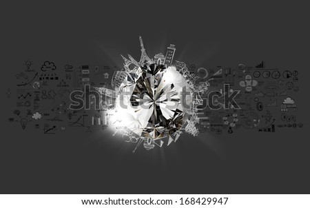 diamond 3d with hand drawn business success  traveling around the world as concept - stock photo