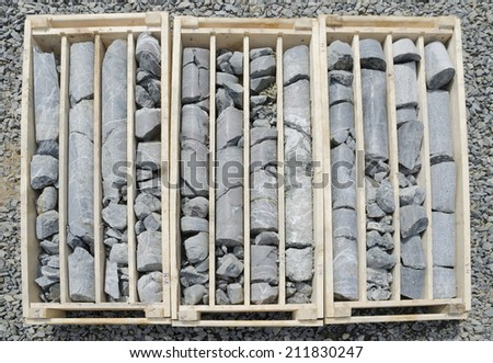 Diamond drilled rock cores of gold bearing ore ready for logging and sampling - stock photo