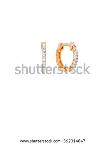 diamond earrings isolated on white - stock photo