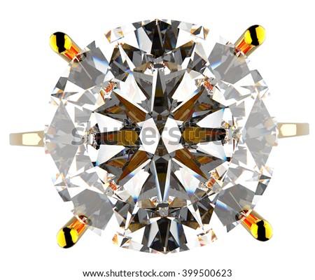 diamond gold ring 2 3d illustration - stock photo