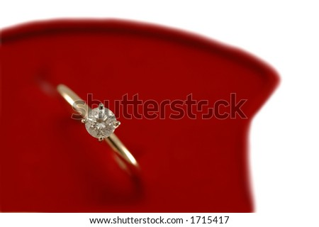 Diamond gold ring in red box - proposal - stock photo