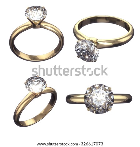 Diamond golden ring - isolated on white background with clipping path  - stock photo