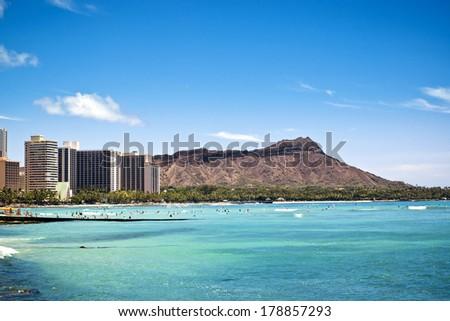 Diamond Head in Waikiki, Hawaii - stock photo