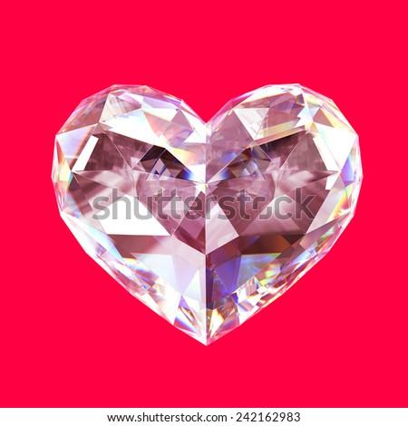 Diamond heart - stock photo
