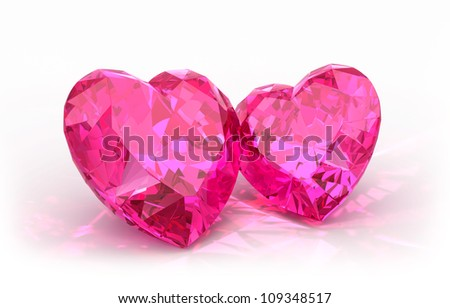 Diamond hearts  isolated on light background. Beautiful sparkling diamonds on a light reflective surface. - stock photo