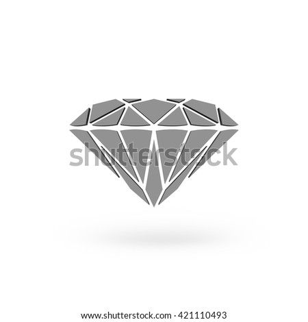 Diamond Icon JPEG. Isolated white background. 3D rendering. - stock photo