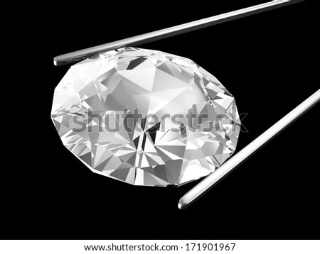 Diamond in the tweezers isolated on black background - stock photo
