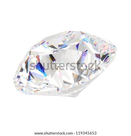 diamond jewel isolated on white background - stock photo