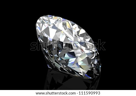 diamond jewel on black background - stock photo