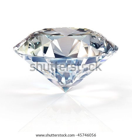 diamond jewel  on white background. High quality 3d render with HDRI lighting and ray traced textures. - stock photo