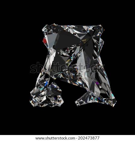 Diamond Letter A. Diamond font isolated on black background. - stock photo