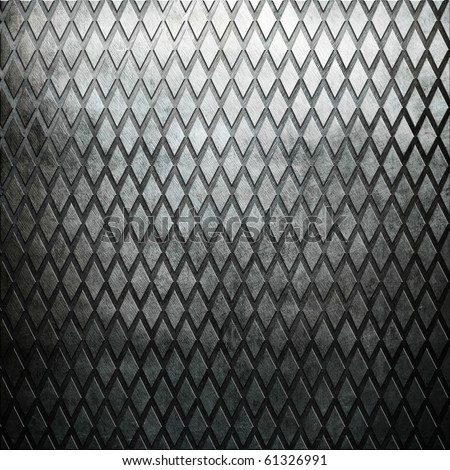 Diamond metal plate with rhombus ornament - stock photo