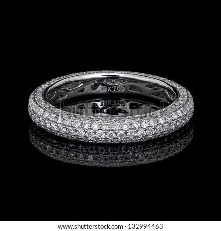 diamond micro pave eternity ring - stock photo