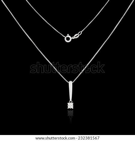 Diamond necklace isolated on black background - stock photo