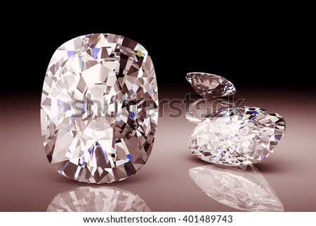 Diamond on black background.High quality 3d render - stock photo