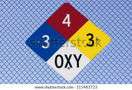 Diamond placard posted on a metal fence. - stock photo