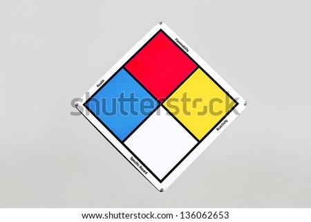 Diamond placard that includes a define text label next to each section of color. - stock photo