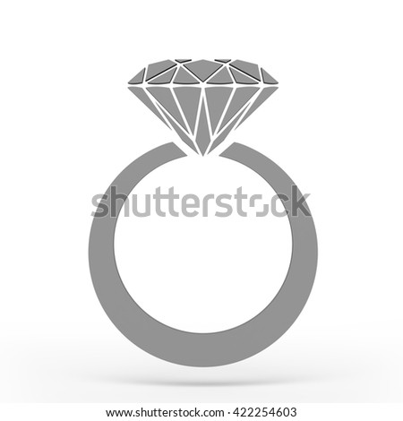 Diamond ring Icon JPEG. 3D rendering. - stock photo