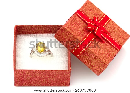 diamond ring in a gift box - stock photo
