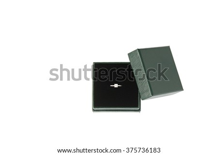 Diamond ring in box over white - stock photo