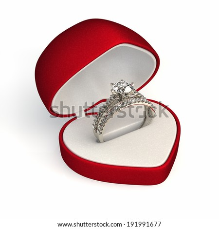 diamond ring in red gift box - stock photo