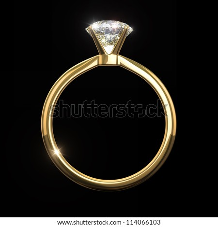 Diamond ring - - isolated on black background with clipping path - stock photo